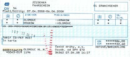 Olomouc to Krakow train ticket