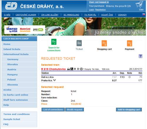 Online train ticket from Usti nad Labem to Prague