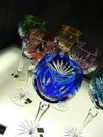 Colourful crystal glasses in the museum gift shop