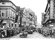 black and white stills fomthe liberation of Plzen in 1945