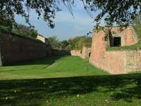 Red brick bastions of the terezin fortress
